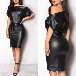 Women PU Leather Mini Dress Sexy Black Crew Neck Wet Look Bodycon Bandage Party Club Plus Size Casual Dresses