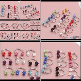 wholesale stainless steel horseshoe ring UK - Rings & Studs Drop Delivery 2021 Horseshoe Nose Body Jewelry Multi Colors Titanium Piercing 50Pcs Lot Aprmd