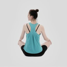Wholesale open back shirts for sale - Group buy Women Sexy Open Back Sport Solid Yoga Shirts Tie Workout Racerback Tank Tops Fitness Tops Women Sport Shirt