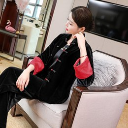 Wholesale 50s fashion dresses resale online - Skirt XXL Coat Outerwear Autumn Winter Fashion Female Women Vintage Embroidery Long Sleeve Casual Black Tops Coats s s