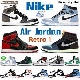 Wholesale NIke University Blue Air Jordan 1 1s basketball shoes men women sneakers light smoke grey twist high dark mocha chicago obsidian UNC shadow mid mens trainers