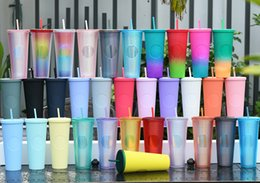 Wholesale Studded Cold Cup 24oz 710ml Double Wall Matte Plastic Tumbler Coffee Mug With Straw Custom LOGO Accpet YYFA230