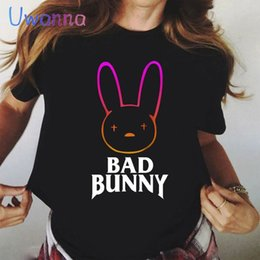 Ingrosso Top Bad Bunny Stampato T-shirt cartone animato Donne Vogue Vintage Black Black 90s Stile Coreano Shirt da tè grafico