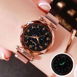 Wholesale Pink Fancy Female Clock, Quartz, Starry Sky, Bracelet, Bright, Feminine, 2020