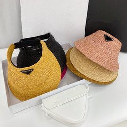 Wholesale 2021 Summer Empty straw hat sun hats Beach holiday cap Grass Braid caps 6 color