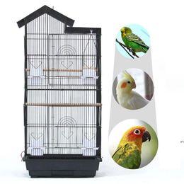 Grande Cage d'oiseau 39 pouces Toiture en acier Fil en plastique Alimentations Plastic Perroquet Sun Perkeet Green Cheek Finch Canach Noir Blanc Cages en Solde