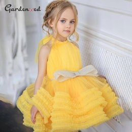 puffy baby girl dresses UK - Yellow Baby Girl Dress Bow Puffy Dresses For Girls High Collar Communion Knee Length Flower Kids Girl's