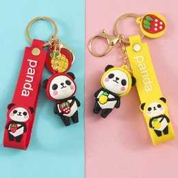 Wholesale red panda cartoon for sale - Group buy Cartoon Creative Fruit Panda Cute Couple Bag Pendant Car Key Chain Ring Small Gift