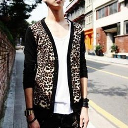 Wholesale ds shirt for sale - Group buy European and American men out of the street leopard long sleeved t shirt cardigan shirt large size men s costumes DS night field
