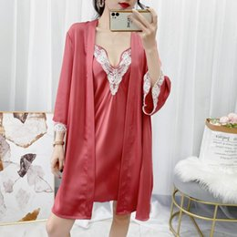 vêtements femme en dentelle bleue achat en gros de-news_sitemap_homeRobe Set Satin Été Kimono Peignoir Robe de peignoir bleu Sexy Femmes Nightwear Nightwear Casual Nightpown Sleepwear Home Vêtements Femme