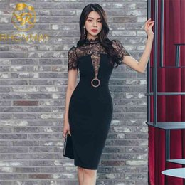 Wholesale korea summer short sleeve resale online - Korea Elegant Black Patchwork Lace Dresses Summer Short Sleeve Split Sexy Women Party OL Office Pencil Dresses