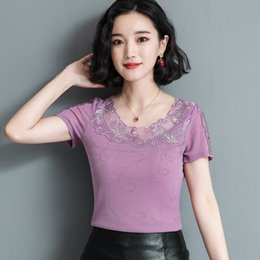 free t shirts designs UK - 2021 summer design engraving short sleeve fashion T - shirt women top 3918