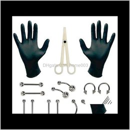 Discount stainless steel gloves Studs Tongue Nose Belly Button Body Jewelry Piercing Rings Clamp Gloves Needles Tool Kit Ear Plug Prong Earrings Internally Threaded V Hakxq