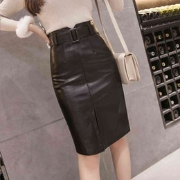 Wholesale black leather skirts for sale - Group buy Casual Dresses Winter Sexy Black Split PU Leather Midi Pencil Skirt with Belt Temperament Slim Hip Knee Length Faux Tube Skirts
