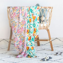 Bamboo cotton swaddle Infants Muslin Blanket painted design Baby Swadding Babys Newborn Bathroom Bath Towels Robes Muslins Photo blankets wmq875 on Sale