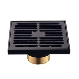 Venta al por mayor de Moderno Negro Puro Invisible Ducha Drenaje de Ducha / Baño Balcón Uso Material De Brass Material Rápido Drenaje Azulejos Insertar Drenajes Cuadrados 609 R2