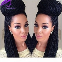micro braided wigs UK - Long brazilian full lace front Braided Wigs burgundy color box braid wig for black women Synthetic Hair Micro Havana Twist Wigs