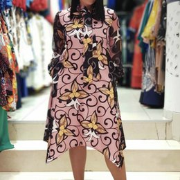 Wholesale long classy summer dresses resale online - Women Printed Loose Dress Long Sleeve Irregular Length Elegant Office Ladies Classy Female Fashion Spring Summer African Retro