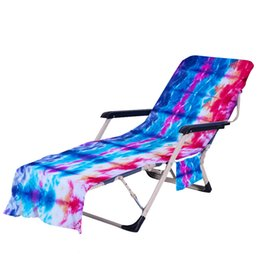 Wholesale pools cover resale online - Tie Dye Beach Chair Cover with Side Pocket Colorful Chaise Lounge Towel Covers for Sun Lounger Pool Sunbathing Garden OOD5811