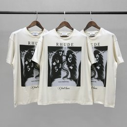 rhude shirt UK - X-ray skeleton butterfly Rhude print high beauty trend loose street short sleeve casual round neck couple t-shirt men 62A8 factory wholesale outlet