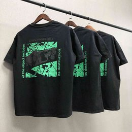 fluorescent t shirts men UK - High edition Street day trend CAV empt C.E casual loose make old fluorescent letter wash short sleeve T-shirt for men FHBK