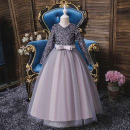 girls tutu dresses 12y 2021 - Girl's Dresses Lace Girls Pageant Party Fashion Long Child Clothing Sequin Tutu Pettiskirt 4-12Y Kids Clothes B4485