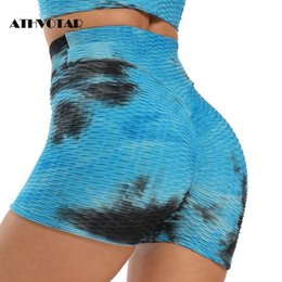 workouts for short women UK - Shorts For Women Summer Fashion 3D Tie Dye High Waist Push Up Skinny Quick Dry Workout Fitness Women's