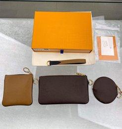 venda por atacado couro pequeno carteira mulher mini moeda bolsa zipper 3 peças marca trio bolsa embreagem sacos 0018