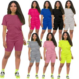 Wholesale ladies active sportswear resale online - Summer Womens Tracksuits Sportswear Short Sleeve Two Piece Set Woman Jogging Sportsuit For Ladies Casual Fashion Sexy T shirt Shorts kl6619