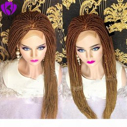 micro braided wigs UK - New brown roots ombre blonde braided hair full lace lace front wig box braid hair African American micro braid wig for black women