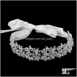 elegant rhinestone crown tiara 2021 - Handmade Crystal Flowers Ribbon Bridal Headband Tiara Crown Sier Wedding Hair Accessories Elegant Rhinestone Women Head Pieces Yknnm F7Zqg