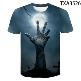 horror shirts Canada - 2021 Summer New 3d Printing Horror T-shirt Men's and Women's Fashion Harajuku Cool Street Top