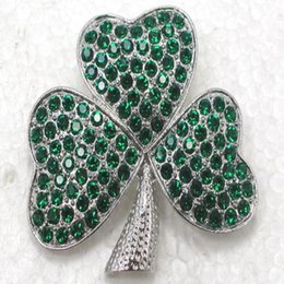 silver brooch costume jewelry UK - Wholesale Gift Shamrock Fashion C102010 Clover Brooches Pin Costume Jewelry Accessories Rhinestone Brooch Gmxnx