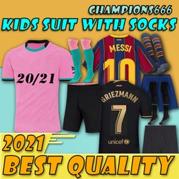 messi kid jerseys 2021 - Maillot foot BARCA soccer jersey 20 21 22 camiseta futbol ANSU FATI 2021 2022 MESSI GRIEZMANN F. DE JONG football shirt men kids with socks tops uniform sets