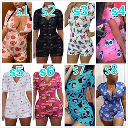 Wholesale sexy short rompers for sale - Group buy Women Jumpsuits Designer Rompers Pajama Onesies Workout Button Sexy Deep V neck Ladies Nightwear Shorts Tight Bodysuit