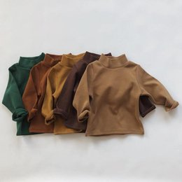 Wholesale cotton turtleneck tee shirts resale online - Baby Children Boys Girls Turtleneck Basic Solid T shirt Tops Toddler Kids Girls Spring Long Sleeve Tee Tops Baby Clothing Y