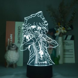 led light base acrylic NZ - Anime 3D Lamps Bedside Acrylic Night Light Danganronpa V3 Nightlight LED Nagito Komaeda Kids Room Decor Teenager Birthday Gift Bluetooth Base Dropshipping