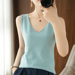Wholesale buy cotton tops resale online - Spring and Buy Summer New Double Shoulder Suspender Vest Women s V neck Short Top Solid Combed Cotton Knitwear Bottom Coat XZ7