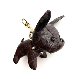 Wholesale 2021 Keychain Bulldog Key Chain brown flower leather men women handbags Bags Luggage Accessories Lovers Car Pendant 7 Colors with box 12x13x5cm #DOG-01