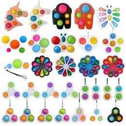 Toptan satış 26 Stilleri Parmak Eğlenceli Fidget Kabarcık Oyuncaklar Push Pop It Basit Dimle Anahtarlık Duyusal Sıkmak Topları Kabarcıklar Anahtarlık Unicorn Çiçek Kelebek