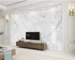Custom Any Size 3D Mural Wallpaper Modern Minimalist Jazz White Marble Home Decor TV Background Wall Decoration Painting Wallpapers on Sale