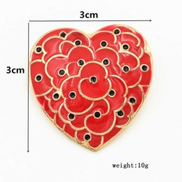 brooch mother pearl flower Canada - Poppy Remembrance Day Lapel Flower For Heart Brooches Women Men Enamel Broach Anniversary Badge Pins Breastpin UK Legion Shape Red Suit Bjhk