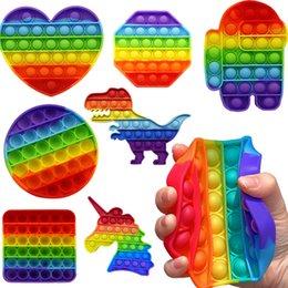 POP Fidget Relver Stres Gökkuşağı Push It Kabarcık Antistres Oyuncaklar Yetişkin Çocuk Duyusal Oyuncak Otizmi Rahatlatmak için