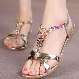 Colorful Plats Sandals Women Reflective Rhinestone Shoes Woman Summer Flat Elegant Flip Flops Plus Size Daily Wear G3 w2Bu#