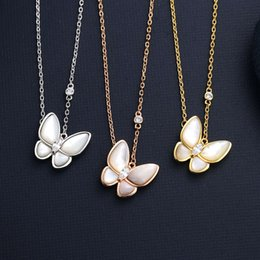 Fanjia butterfly natural white Fritillaria Necklace women rose gold fashion clavicle chain simple Pendant