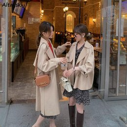 Wholesale trench coat for womens for sale - Group buy Solid Khaki Women Trench Coat For Womens British Style Double Breasted Baggy Elegant Retro Harajuku Ulzzang Casual All match Ins Women s Coa