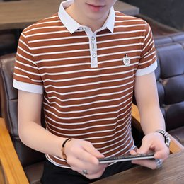 Wholesale short people clothes for sale - Group buy Summer New Business Casual Men s Short Sleeve Lapel Stripe Polo Shirt T shirt Large Size Clothes for Middle aged and Young People