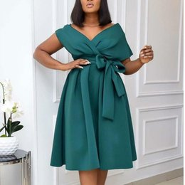 women birthday party dresses 2021 - Women Party Dress V Neck With Waist Belt Bowtie Pleated A Line Occation Birthday Christmas Event Celebrate Fashion African XXXL Casual Dress