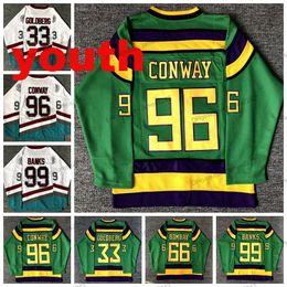 Опт Молодежные дети, могущественные утки кино Хоккей Джерси # 33 Грег Голдберг # 96 Чарли Конвей # 99 Adam Banks # 66 Гордон Бомбейские майки сшитые белые зеленые
