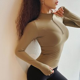 Wholesale longsleeve shirts resale online - T Zipper Women T Shirts Sexy O Neck Longsleeve With Thumb Skinny Workout Tank Tops Fitness Quick Dry Shirts Female